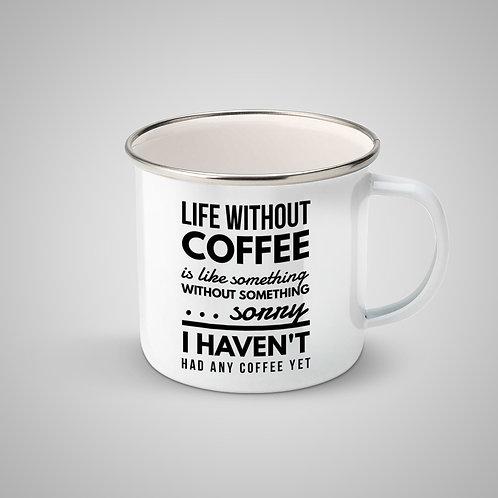 """Cană metalică emailată """"Life without coffee"""""""