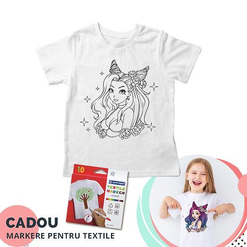 """Tricou de colorat """"Prințesă Anime"""", cu markere pentru textile cadou"""