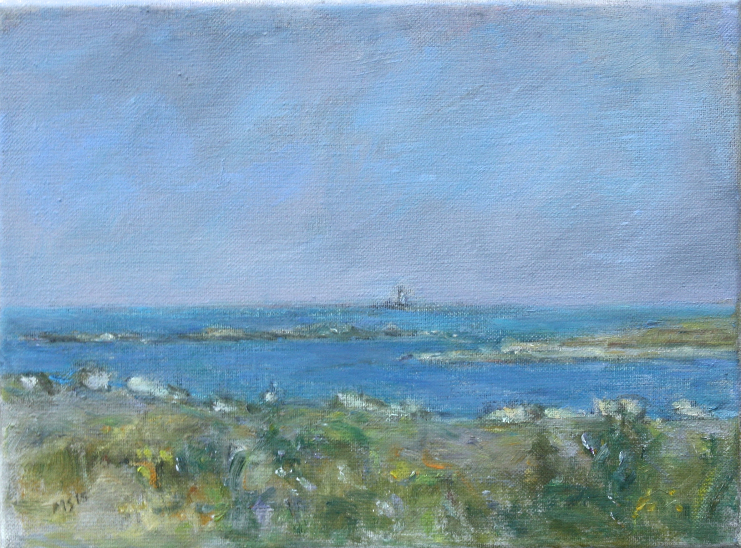 Gull Rock Lighthouse, oil on linen, 9_ x 12_, 2015