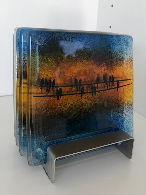 Birds on a Wire Coasters (with stand)