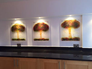 Autumn tree tryptich glass wall panels