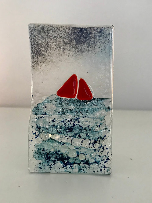 Stormy Sea Tealight Panel (red boat)