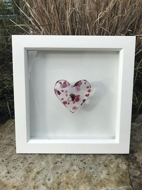 Pink Flower Power Pebble Heart in 20cm x 20cm Frame