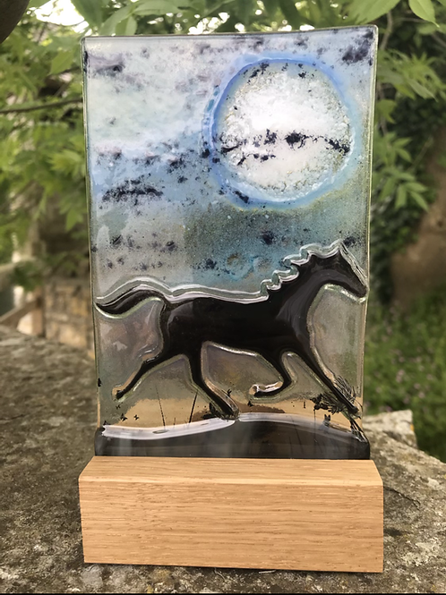 Prancing in the Moonlight - Fused glass horse panel in a woodblock