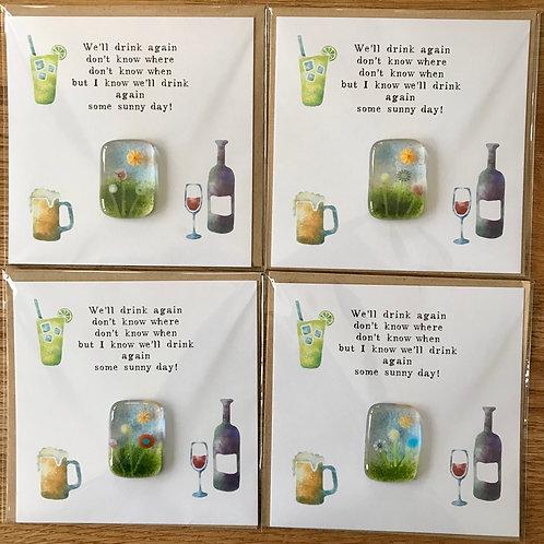 Pocket Charm Postcards x 4 - We'll drink again...