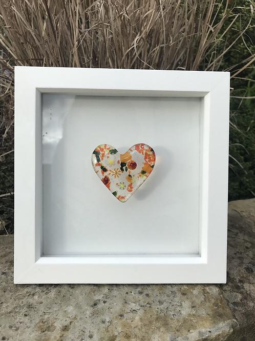 Marigold Flower Power Pebble Heart in 20cm x 20cm Frame
