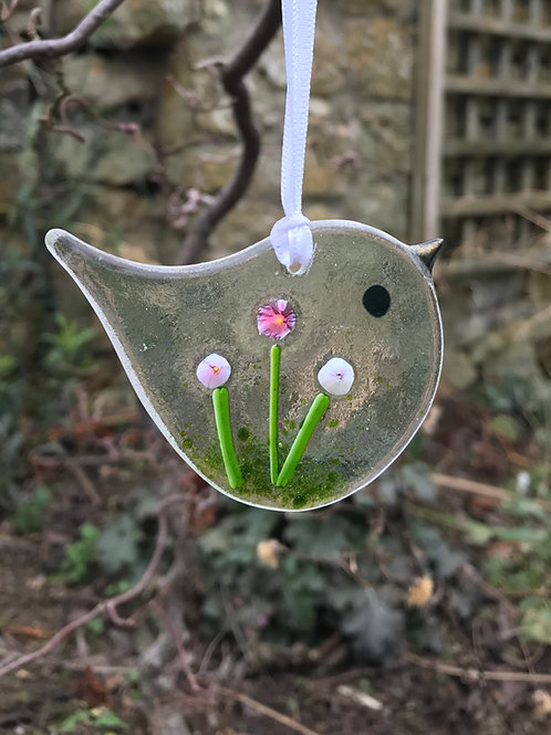 Pink Star Flower Bird
