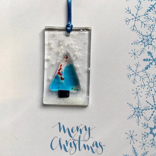 Christmas Tree on Blue Snowflake Present Card