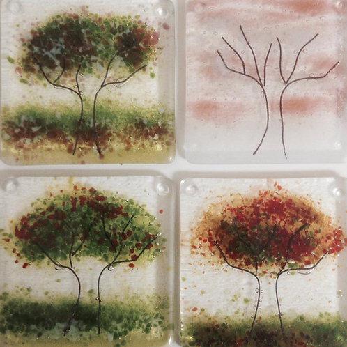 Four Seasons Orchard Coasters set of 4