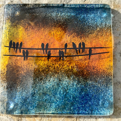 Birds on a Wire Coasters x 4 (no stand)