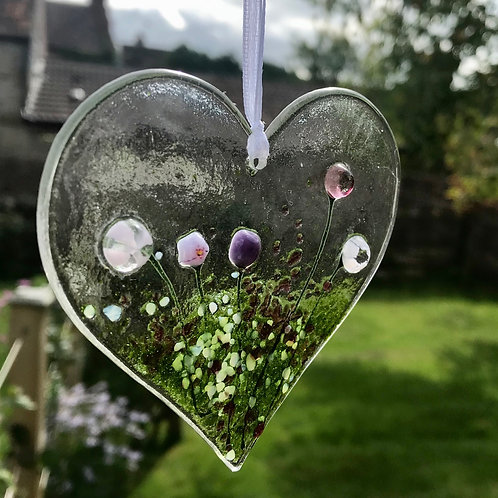 Pink Cottage Garden Glass Heart