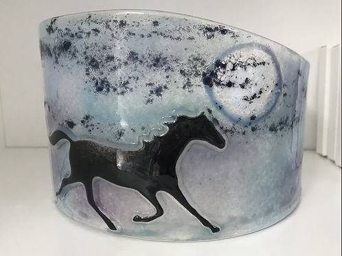 Prancing in the Moonlight - Fused Glass Horse Arc