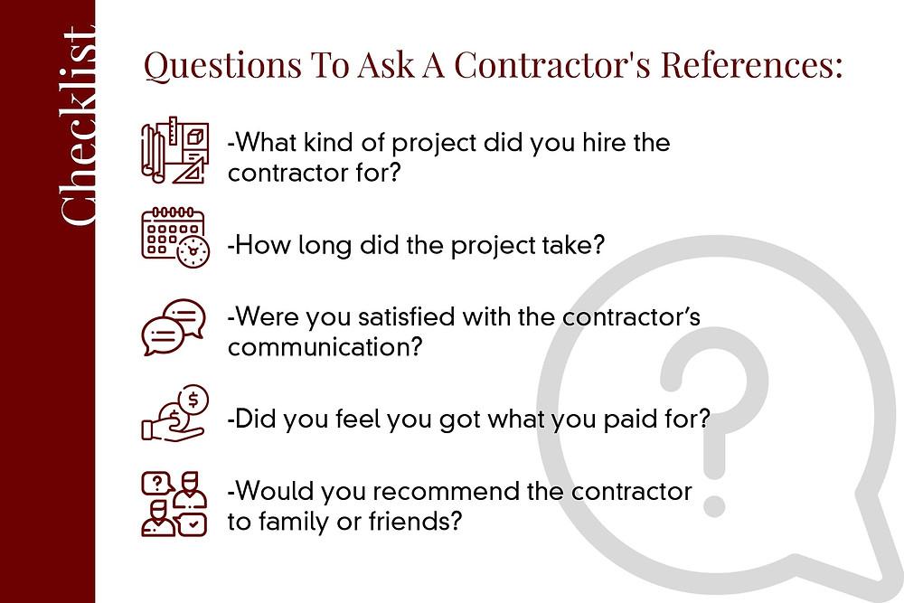 questions to ask a concrete contractors references