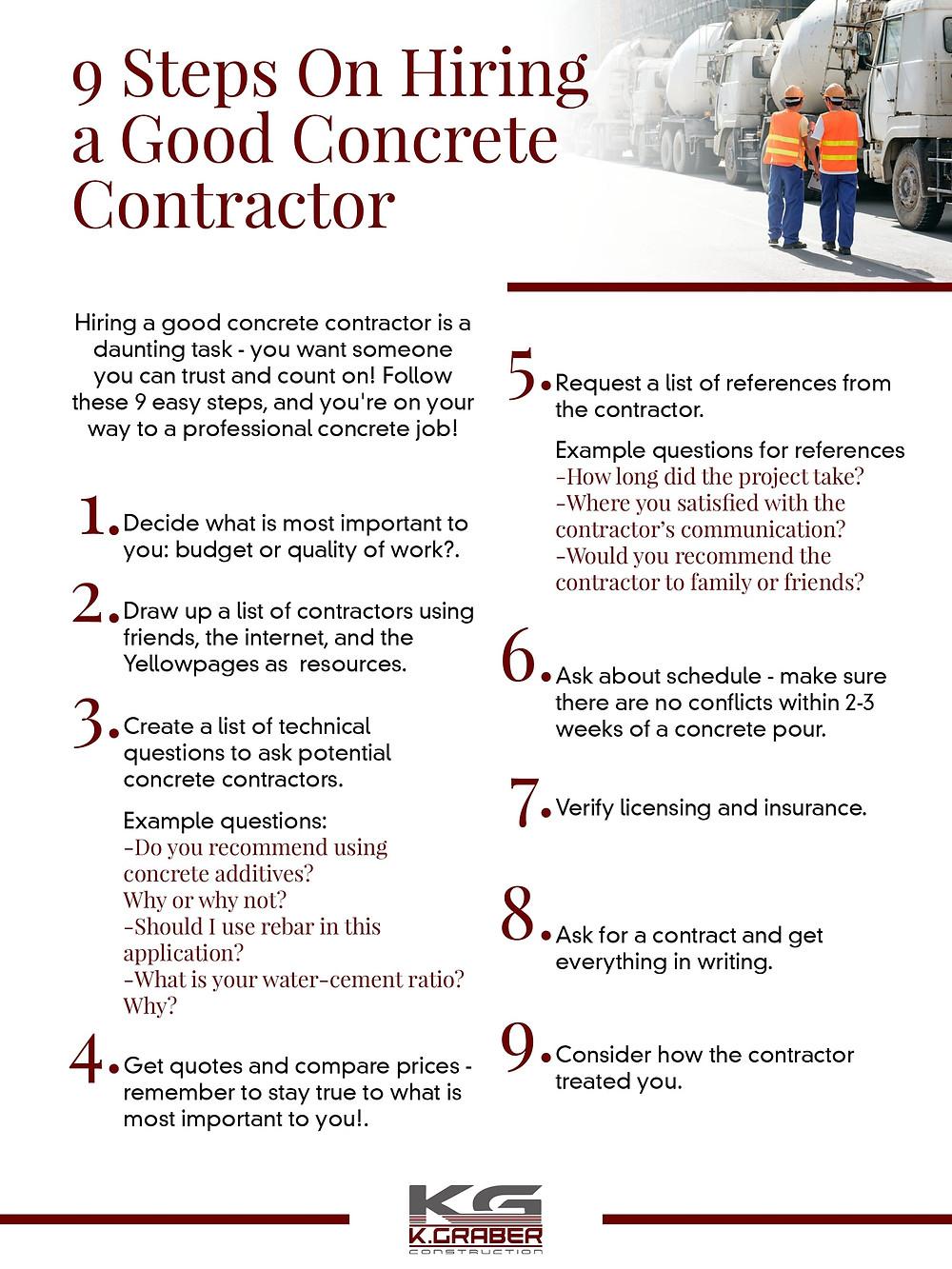 concrete contractor checklist