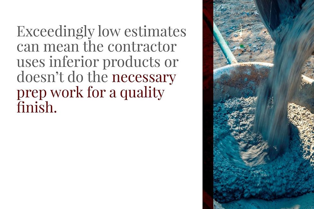avoid low estimates from concrete contractors
