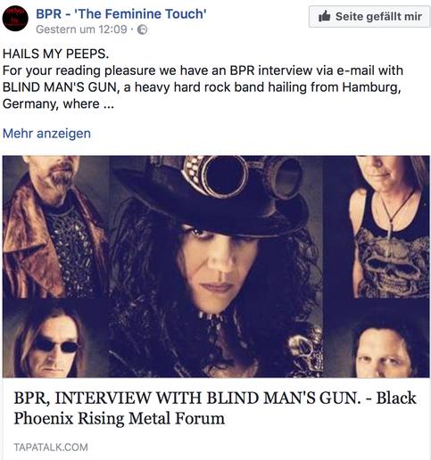 Great Feature in UK - Black Phoenix Rising Metal Forum