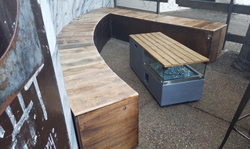 bench with firepit table