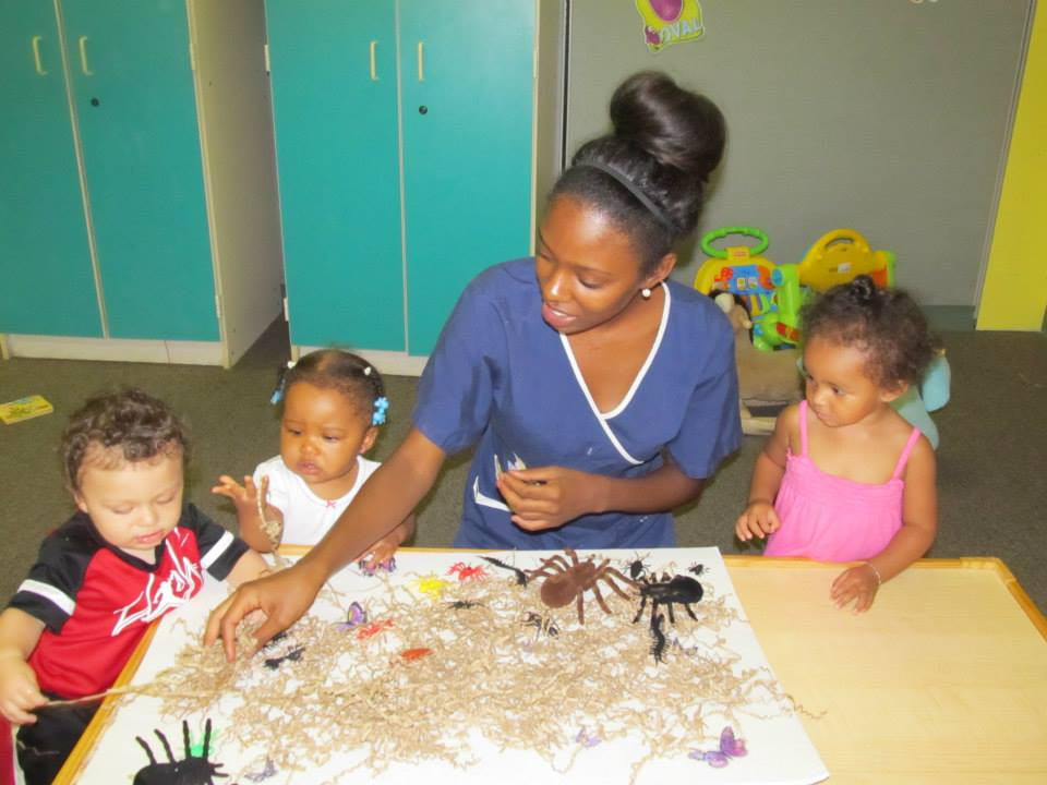 Infants learning with sensory play