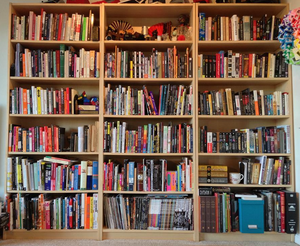 Three bookshelves filled with books.