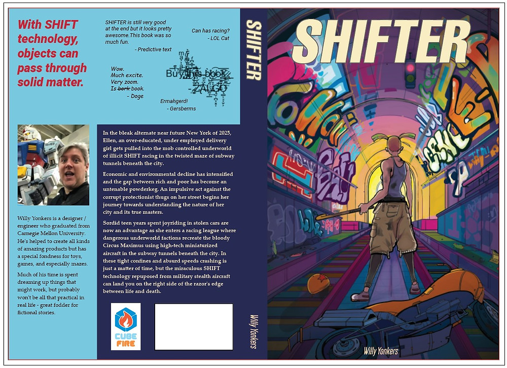 Left side is the back cover of the book with author photo and fake endorsements and text. The right side is the front cover with SHIFTER text across the top and a colorful illustration of a graffiti covered subway tunnel and woman with pigtails and cargo shorts facing away, field-hockey stick in hand.