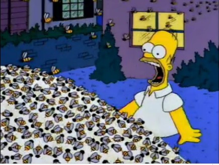 Homer Simpson screaming next to a swarm of bees on a pile of sugar in his front yard.