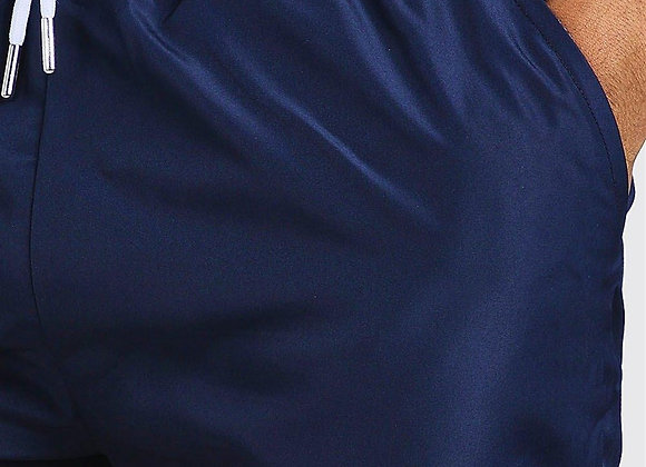Regular Shorts With Lettering Embroidery Navy