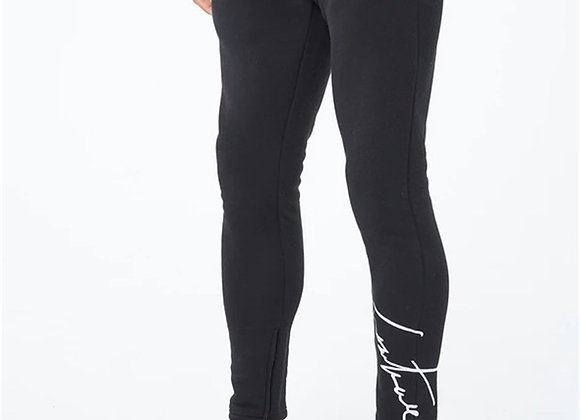 Signature Embroidered Hem Zippered Jogger Sweatpants Black