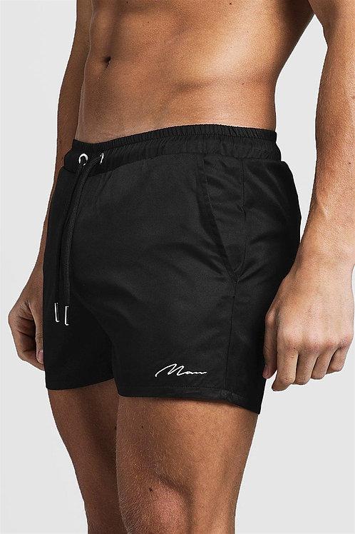 Signature Embroidered Short Swim Shorts Black