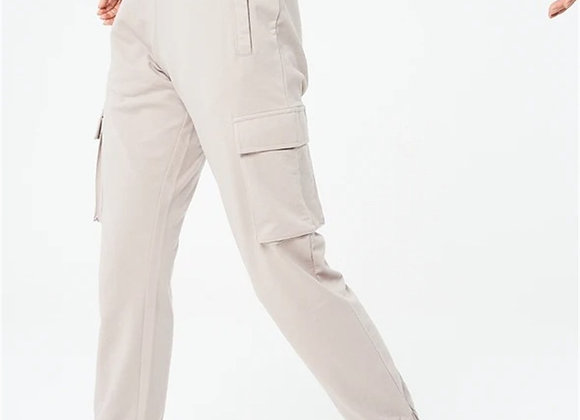Embroidered Back Cargo Trousers Jogger Beige