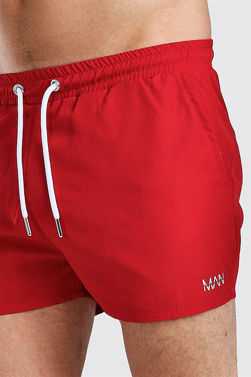 Regular Shorts With Lettering Embroidery Red
