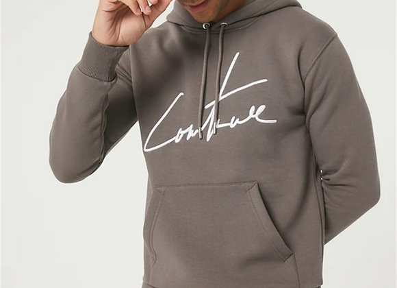 Chest Signature Embroidery Hooded Sweat Brown