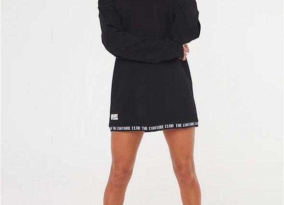 Unisex Oversize Collar Piped Sweat Black