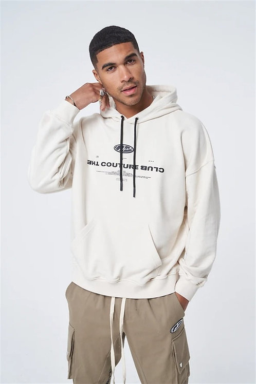Oversized Front And Back Printed Hooded Sweat Ecru