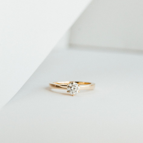 Yellow Gold & Diamond Solitaire Engagement Ring