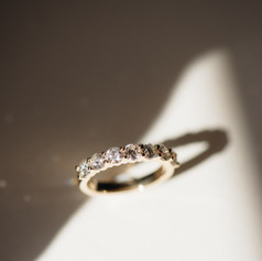 Shared Claw Set Yellow Gold And Diamond Wedding Band