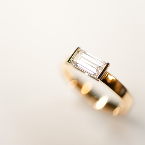 1 Carat Baguette Diamond Set in 18ct Yellow Gold And Platinum Set East To West