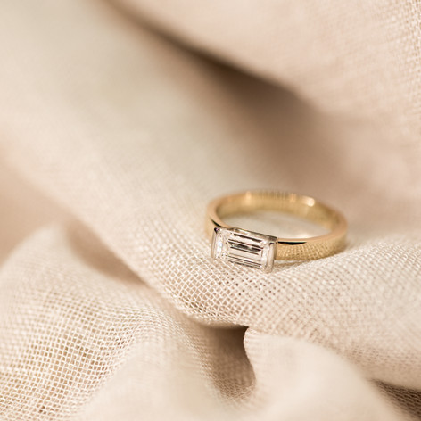 Baguette Diamond Ring Set East to West