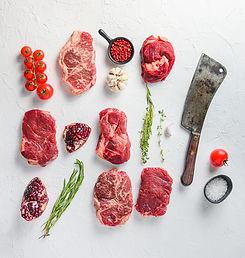 Rraw beef steaks set top blade, rump, ch