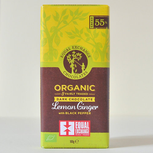 Dark Chocolate + Lemon and Ginger  Equal Exchange 100g