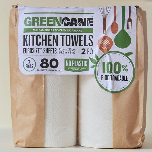 Green Cane Kitchen Towels (80 sheets per roll 2 rolls)
