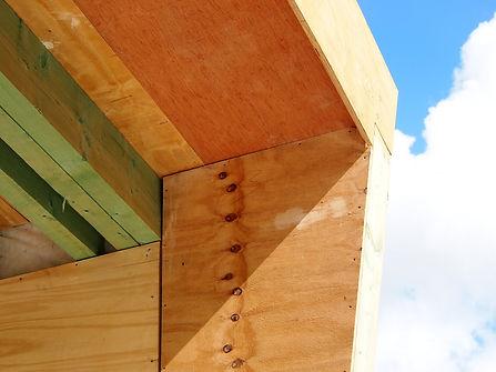detail van de houten draagconstructie