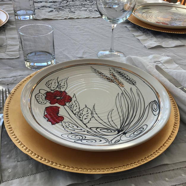 Wheat and Poppy 11 inch Dinnerplate