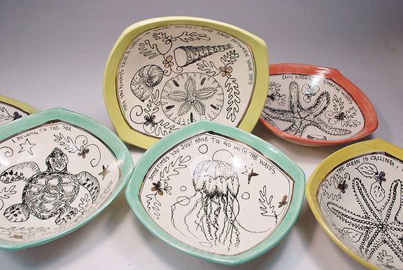 Jellyfish , Shells, Starfish  6 inch Hankie Bowls