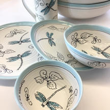 Dragonfly Dinnerware is delicately blue and whimsical for everyday enjoyment and