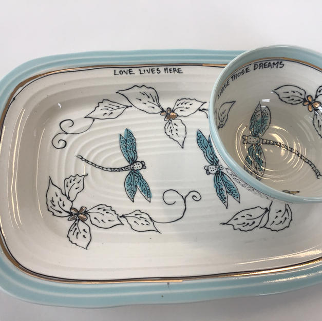 Rectangle Dip Set with small 4 inch bowl