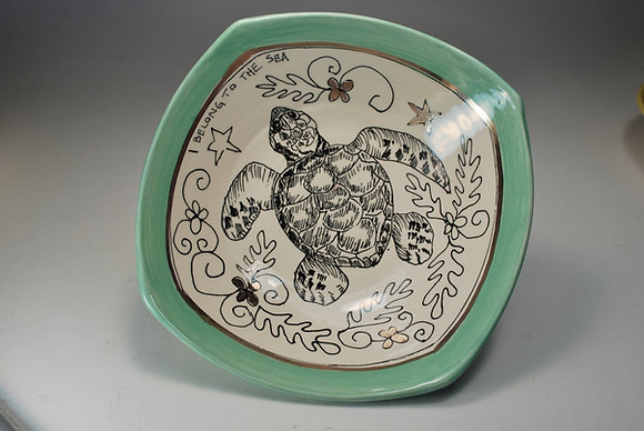 Swimming Turtle with Jade Border 9 inch Hankie Bowl