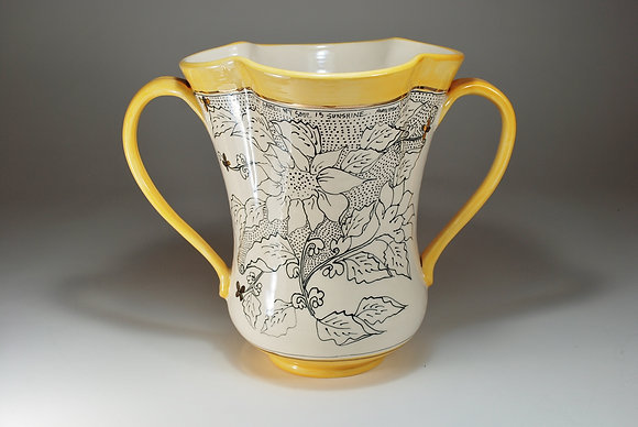 Yellow Sunflower Double handled vase
