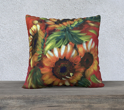 Red Sunflower Cushion Cover