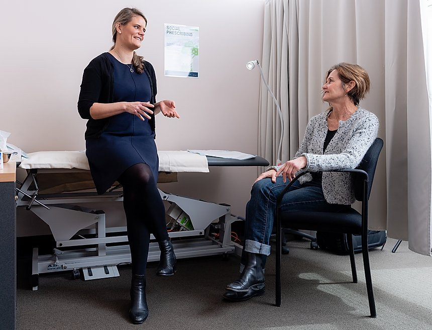 """NWMPHN Funds Community Coordinator, Catherine Cotching (seated right) to work with IPC Health's GPs like Sara Nairn to provide """"social prescriptions"""" for patients who need more than medication. Photo: NWMPHN"""