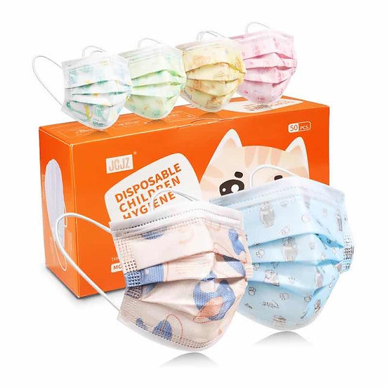 Children's Disposable 3-Ply Face Mask, Multi Color (50 masks per box)